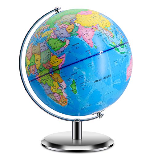 World Globe with Stand Adults - 9 Inch Diameter - Geographic Globes Discovery World Learning Toys Globe for Kids.