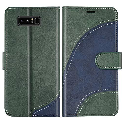 BoxTii Cover per Galaxy Note 8, Custodia in PU Pelle Portafoglio per Samsung Galaxy Note 8, Magnetica Cover a Libro con Slot per Schede, Verde