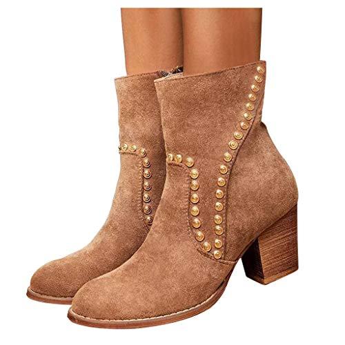 Damen Stiefeletten Mit Dicken AbsäTze, Mode Casual Square Heels Lange Stiefeletten Slip On Schuhe...