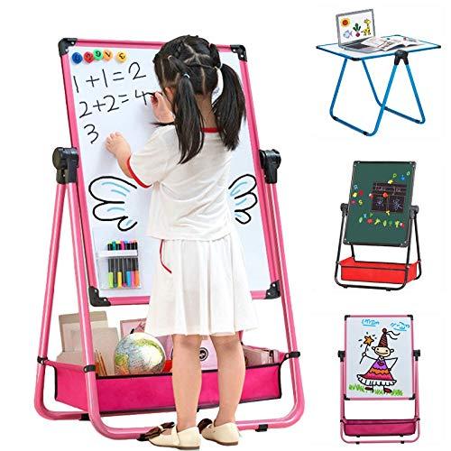 OSHA HJWMM Pizarra Madera Infantil, Doble Cara Pizarra y Tablero de Pintura Magnético Caballete de Borrado en Seco Rotación de 360 ° con Prima Letras (Color : A, Size : 102X48CM)