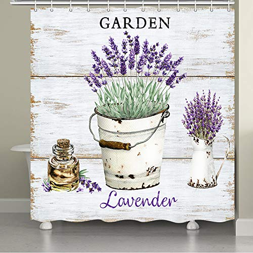 JAWO Vintage Shower Curtain for The Bathroom, Purple Lavender Flower French Chic Garden Artsy Design Bathroom Curtain, Bathroom Set, Bathroom Accessories