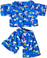 """Teddy Mountain Sunny Days Blue Pj's Teddy Bear Clothes Outfit Fits Most 14\\"""" - 18\\"""" Build a Bear and Make Your Own Stuffed Animals"""