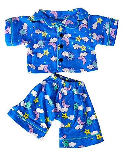 BLAU PYJAMAS Teddybär Outfit / Bekleidung. Passend für 15