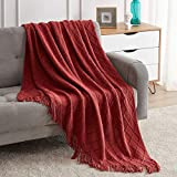 Bourina Textured Solid Soft Sofa Throw Couch Cover Knitted Decorative Blanket,Brown Red Rusty Orange Maroon 50'x60'