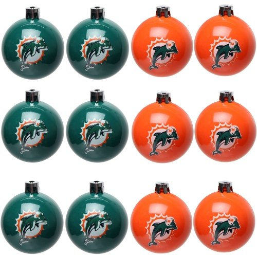 FOCO Miami Dolphins NFL 12 Pack Ball Ornament Set
