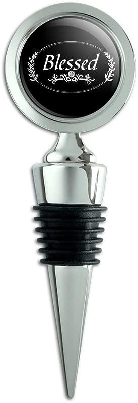 Blessed Halo On Black Wine Bottle Stopper