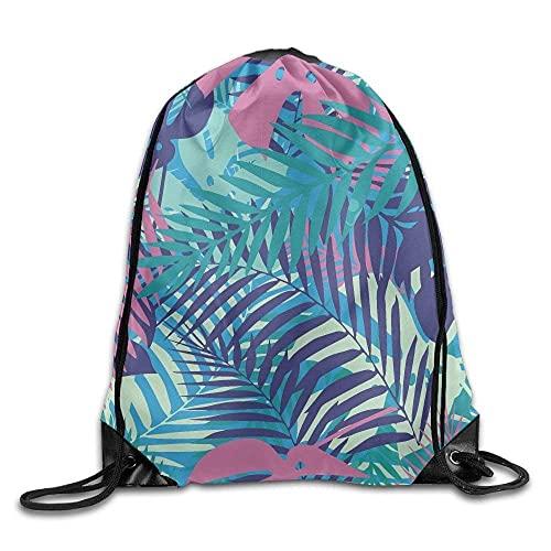 Lsjuee Colorful Palm Leaves Print Drawstring Backpack Rucksack Shoulder Bags Gym Bag Sport Bag