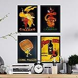 Nacnic Set 4 Stampe artistiche Vintage pubblicità Campari, Cinzano, Cognac. Manifesto d'Epoca. alcolici. 250 Grammi di Alta qualità. per arredare Il Tuo Ristorante la Tua casa e la Tua Cantina.