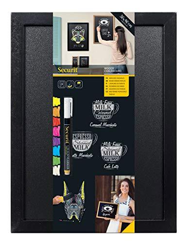 Securit Woody - Pizarra de pared enmarcada (30 x 40 cm), color negro