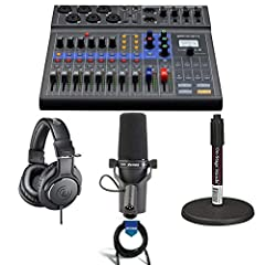 LiveTrak L-8 Portable 8-Channel Digital Mixer and Multitrack Recorder - 3.5mm TRRS Cable - USB Cable - AD-17 AC Adapter - Quick Guide - Zoom 1 Year Limited Warranty - Shure SM7B Cardioid Dynamic Studio Vocal Microphone - Audio-Technica ATH-M20x Profe...