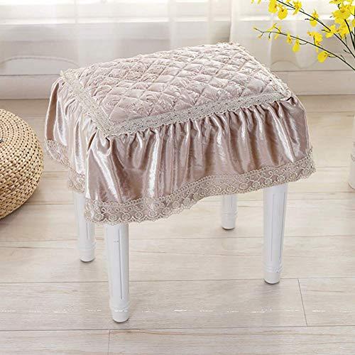 XHNXHN Cojines de silla europeos acolchados, no resbaladizos de encaje con volantes, cojín de asiento de sofá, cojines de silla de comedor, fundas de taburete con lazos de champán, 25 x 35 cm