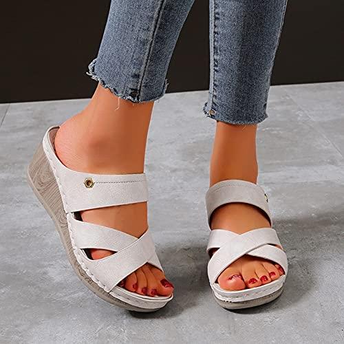 Damskie wygodne sandały na koturnie letnie ortopedyczne z odkrytymi palcami niski obcas antypoślizgowe kapcie trekkingowe dla kobiet Casual Slip On platformy buty plażowe,White,US8/EU39