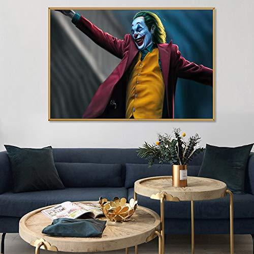 Bösewicht Rauchen Clown Film Poster Wandkunst Leinwand Hua Phoenix Druck und Poster Comic Bild Dekorative Malerei Rahmenlose Malerei 60X90cm