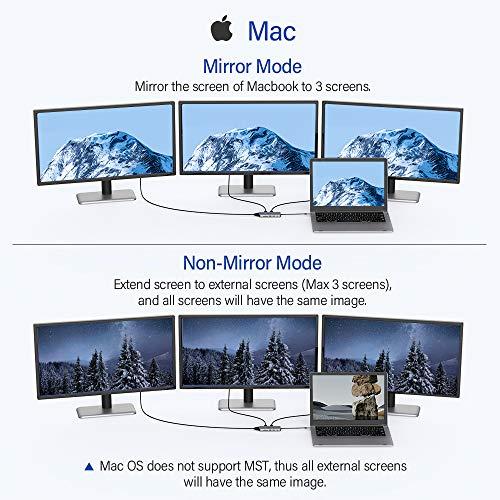 USB C Docking Station, 9-in-1 USB C Hub für Dual 4k HDMI, VGA, 2 USB, 79W PD 3.0, SD/TF-Kartenleser, Mikrofon/AudioTyp C Hub Kompatibel mit MacBook, Dell XPS (Windows Laptops Support Triple Anzeige)