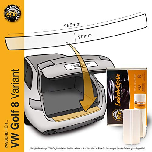 Lackschutzshop - Passform Lackschutzfolie passend für VW Golf 8 / VIII Variant (Kombi) (Typ CD ab BJ 2020, alle Modelle) Ladekantenschutz – transparent 150µm
