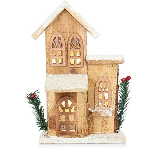 com-four Decoración navideña con luz LED - decoración de Madera, casa iluminada - decoración de Mesa [¡la selección varía!] (01 Piezas - la selección varía)