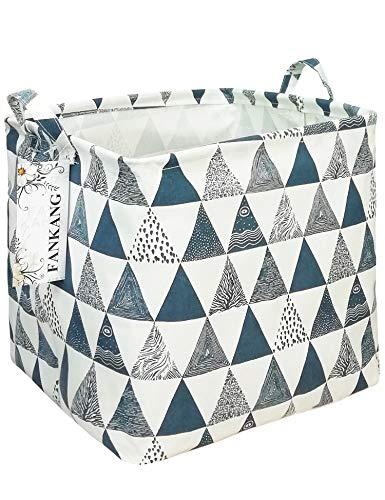 FANKANG Square Nursery Hamper Storage Bins Canvas Laundry Basket Foldable with Waterproof PE Coating Large Storage…
