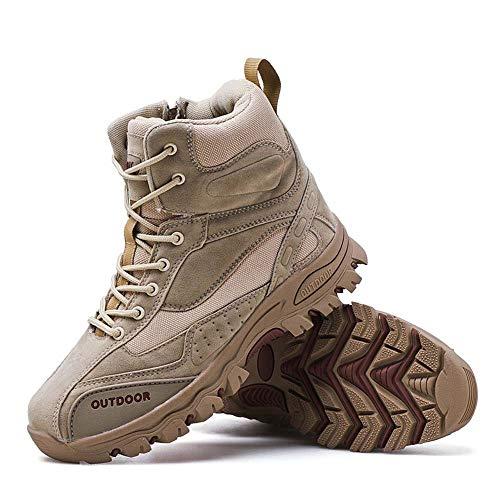 Bititger Botas militares impermeables Commando al aire libre Botas tácticas Botas de combate Botas de patrulla del ejército Botas de seguridad Policía Zapatos de cuero con cremallera, color Beige, talla 39 1/3 EU