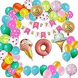 EOINSHOP Globo Cumpleaños Decoración Set Feliz Cumpleaños Fiesta De Cumpleaños Suministros De Fiesta De Aluminio De 12 Pulgadas Redondo Látima Banner Banner Balloons Regalo