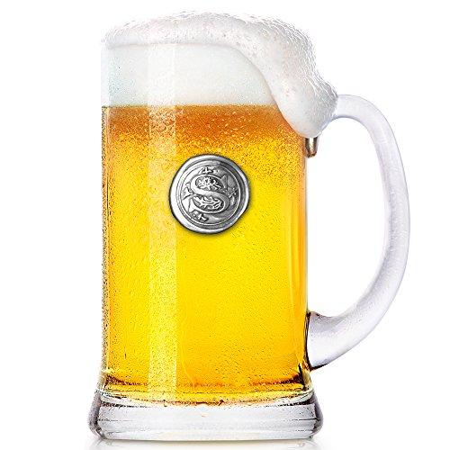 English Pewter Company MON019 - Boccale in vetro con iniziale da 1 pinta da birra, idea regalo per uomo