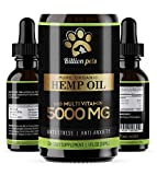 Billion Pets - Hemp Oil Dogs Cats - 5000mg - Separation Anxiety, Joint...