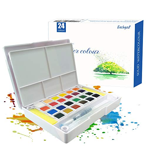 Eachgooo Set de Pinturas de Acuarela, 24 Colores Cajas de Acuarelas con una paleta para mezclar, 1 pincele de agua y 2 esponjas de limpieza para artistas, estudiantes o principiantes