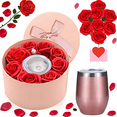 specool Geburtstagsgeschenk für Frauen, geliebte Seifenrosenblume mit Weinbecher in Geschenkbox, Romantisches Geschenk für sie am Muttertag, Jahrestag, Geständnis, Valentinstag, Weihnachten