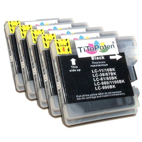 5X kompatible Premium XL Druckerpatronen für Brother DCP 195 C in Schwarz. Sehr Gute Laufleistung und Preiswert!