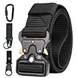Men Tactical Belt, Military Style Heavy Duty Nylon Canvas Waist Belts with Quick-Release Metal Buckle For Cargo Shorts Hunting Training Army Running [ 3 Hook ]125 * 3.8 CM (L*W) Black