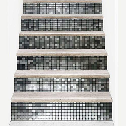 Yubingqin 6 pegatinas extraíbles para escaleras, baldosas de cerámica autoadhesivas, de PVC, para escaleras, decoración del hogar, 18 x 100 cm (color: plata)