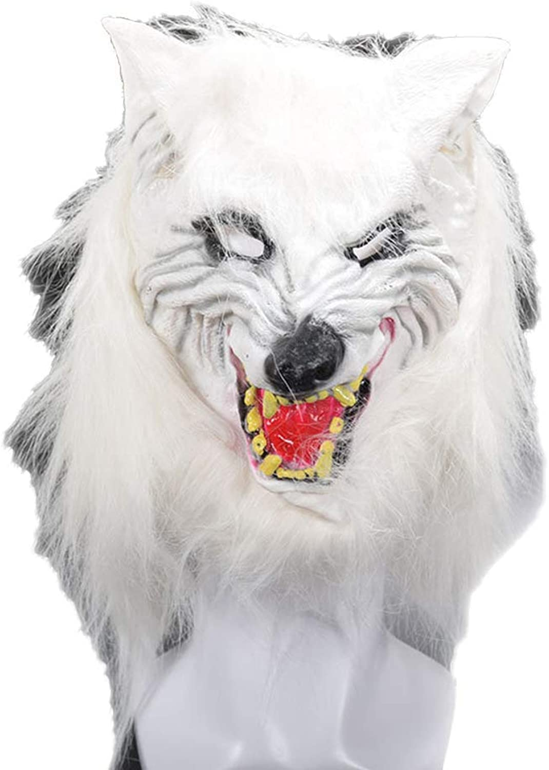 Zicue Humgoldus Mask Masquerade Prom Mask Fox Head Cover Mask Halloween Funny Performance Props Long Hair Horror Animal Mask