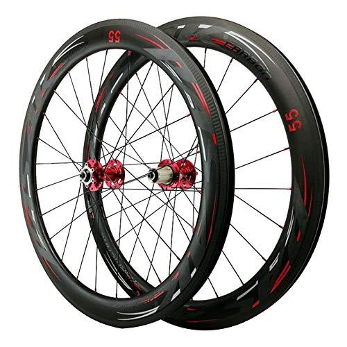 700C Carretera Bicicleta Rueda,Ruedas de Ciclismo Fibra de Carbon 24 Hoyos Apertura de 55mm Freno Disco Volante de 7/8/9/10/11 Velocidades Deportes (Color : Red hub, Size : 55mm)