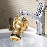 GEZICHTA - Raccordo per rubinetto, in ottone rame e ottone, accessori di conversione per lavatrice (oro)