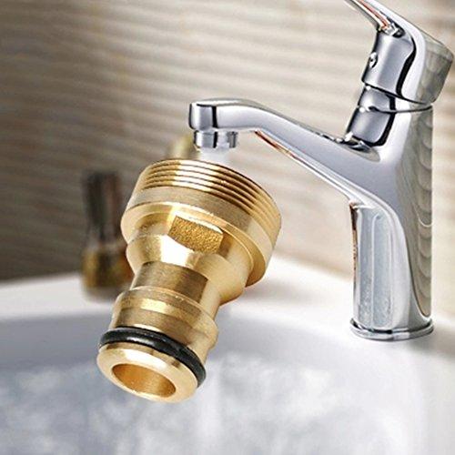 Conector de grifo de manguera de latón macizo, conector de tubería de agua de latón sólido, adaptador de grifo de cocina, accesorios de interfaz de conversión de agua (23 mm, dorado)