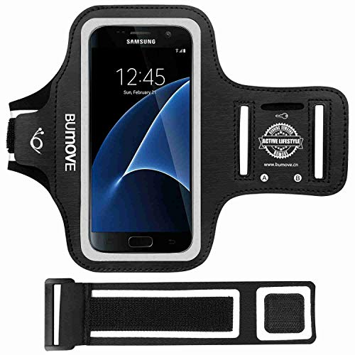 BUMOVE Galaxy S7 Armband, Gym Running Workouts Sports Cell Phone Arm Band for Samsung Galaxy S7 with Key/Card Holder (Black)
