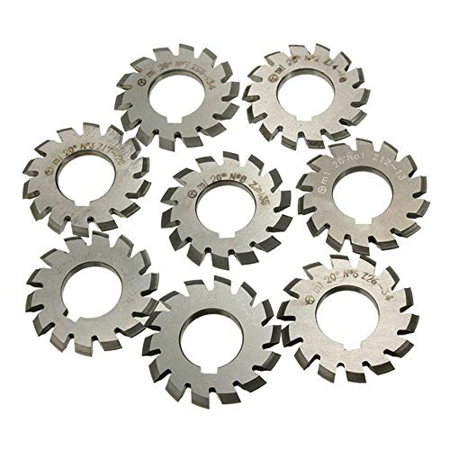 8 pcs Module M1 Inner Bore 20° 22mm HSS Involute Gear Cutters Set Disk-Shaped