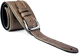 LeatherGraft Distressed Brown Genuine Leather with Buckle Shoulder Pad Guitar Strap - For all Electric, Acoustic, Classical and Bass Guitars
