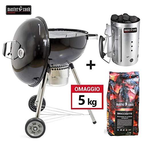 MasterCook - Barbecue 57cm a carbonella con ruote MasterCook. OMAGGIO Accenditore MasterCook e bricchette 5 Kg. BBQ Compatto, barbecue con ruote, BBQ