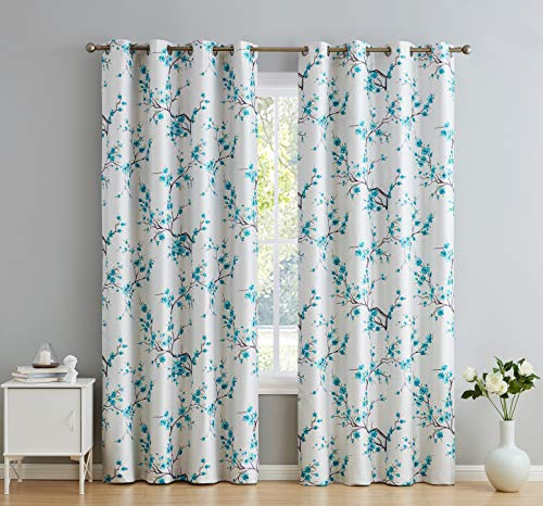 """HLC.ME Jasmine Floral Faux Silk 100% Blackout Room Darkening Thermal Insulated Curtain Grommet Panels - Energy Efficient, Complete Darkness, Noise Reducing -Set of 2 (Teal Blue, 52"""" W x 84"""" L)"""