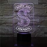 Insignias Riverdale Snake Logo 3D Led Night Light Southside Serpientes Decoración Signo Cosas Riverdale Accesorios Lámpara De Mesa Color Regalo
