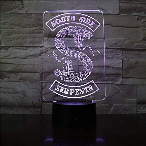 Badge Riverdale Snake Logo 3D LED Nachtlampje Southside Serpents Decor Teken dingen Riverdale accessoires tafellamp kleur geschenk