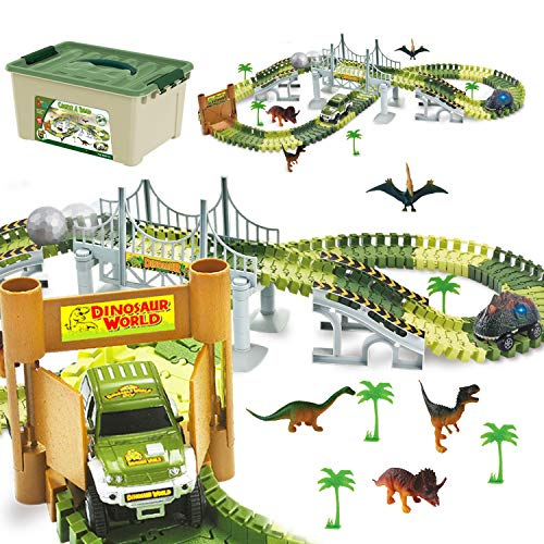 ToyVelt Dinosaur Toys Race Track Toy Set - Create A Dinosaur World Road Race Flexible Track Playset - Includes 2 Cars and A Container Best Gift for Boys & Girls Ages 3 4 5 6  Years Old and Up