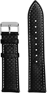 Carbon Top Grain Leather Watch Strap 18mm 20mm 22mm, Silver Gold Black Buckle