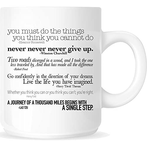 86a769d2289 Amazon.com  Inspirational Quotes 11oz. Ceramic Coffee Mug - White Mug -  One-Sided Black Print - Gloss Finish  Kitchen   Dining