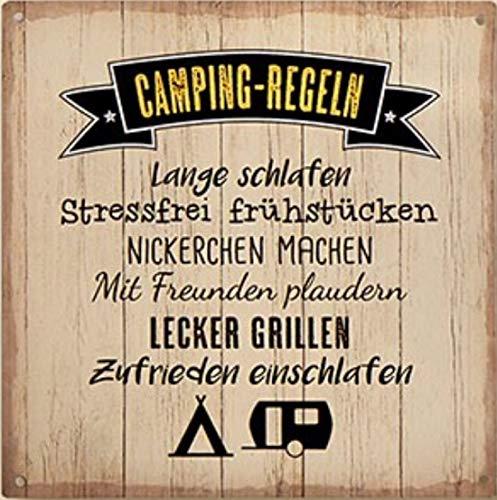 G.H. Vintage Retro Metallschild, Modell: Camping Regeln, Maße 19 x 19 cm, Creme, ideal für Camper, Zelter, Caravaner, Wohnmobilisten, oder einfach Zuhause.