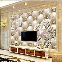 Ljjlm カスタマイズされた大きなフレスコ画3Dソフトバッグダイヤモンドジュエリー花豪華な背景壁の壁紙パペルデパレード-280X200Cm