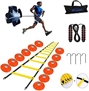 RECHENG Football Training Equipment,Agility Ladder Training Equipment,Speed Agility Training kit,Includes Sport Ladder,12Disc Cones,Resistance Parachute,4metal Stakes&Skipping Rope