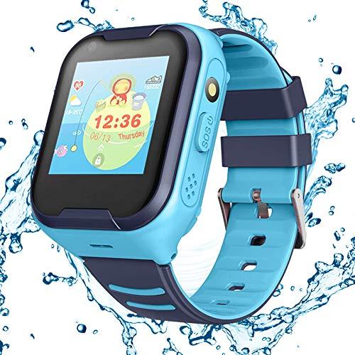 Topchances 4G Reloj Inteligente para niños, Reloj Inteligente con, protección Segura, Impermeable, WiFi para niñas, niños, Navidad, Año Nuevo, Regalos de cumpleaños(Azul)