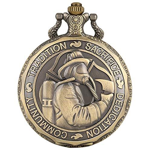 HELBOD Orologio da tasca Retrò ST Saint Florian Patron Saint Of Fire Fighters Sfida orologio da tasca al quarzo Tradizione Sacrificio Dedizione Regalo comunitario, Catena da 30 cm