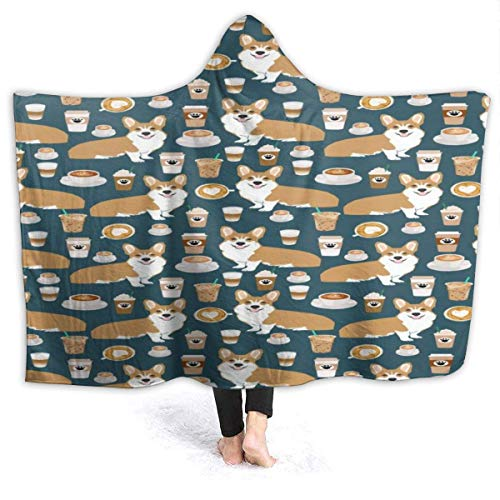 XCNGG Manta con Capucha Coffee Corgi Hoodie Wearable Blanket Flannel Premium Sofa Blanket Windproof Hooded Throw Wrap Thermal Hooded Blanket Comfy Hoodie Blanket for Bed Couch Car
